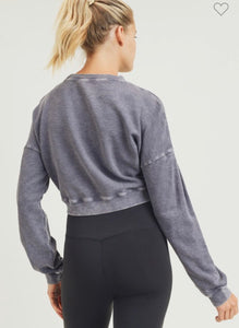 Back of Cropped mineral washed sweatshirt in plum gray