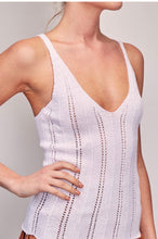 Load image into Gallery viewer, Knitted tank v neck in white by mustard seed