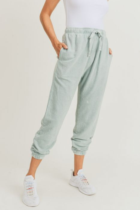 Mineral-Washed Joggers in Sage