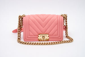 Chanel Pink Boy Flap Bag Chevron Caviar Small