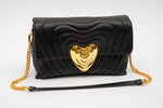 Escada Black Heart Quilted Handbag
