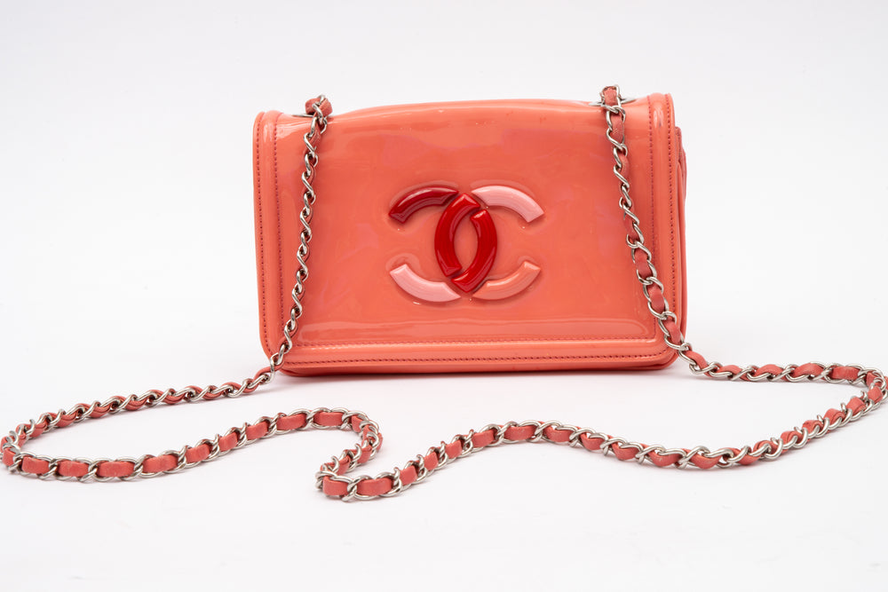Chanel Pink Patent Lipstick Wallet on a chain