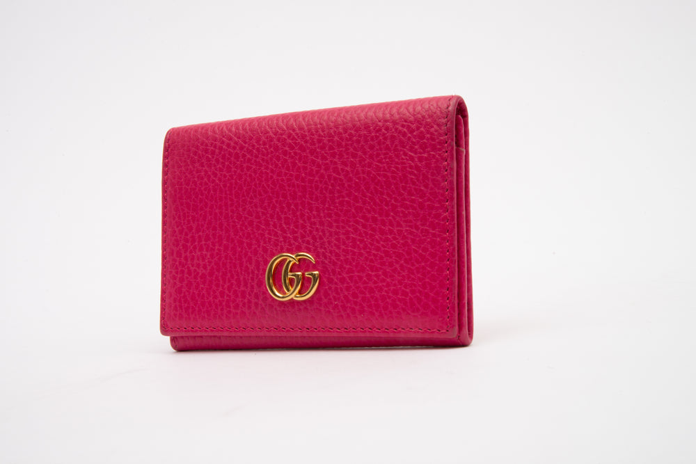 Gucci Pebbled Calfskin Card Case Fuchsia