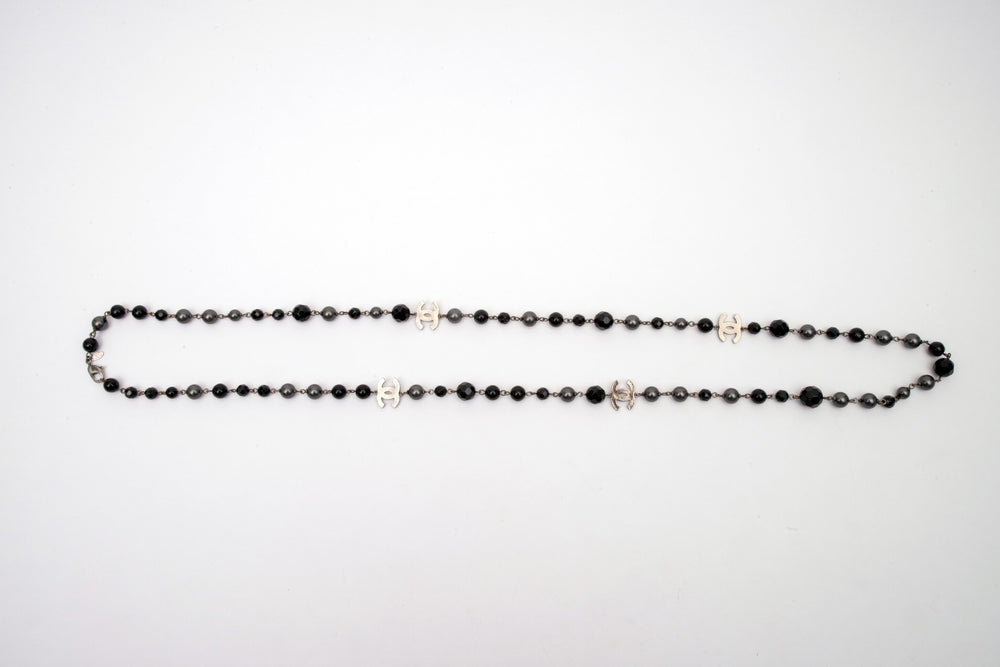 Chanel Ruthenium Pearl Beaded CC Long Necklace Black