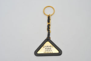 Chanel Gold Leather Triangle Keychain