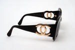 Chanel Black and Gold Sunglasses