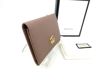 Gucci Petite Marmont Dusty Pink Textured Leather Card Case