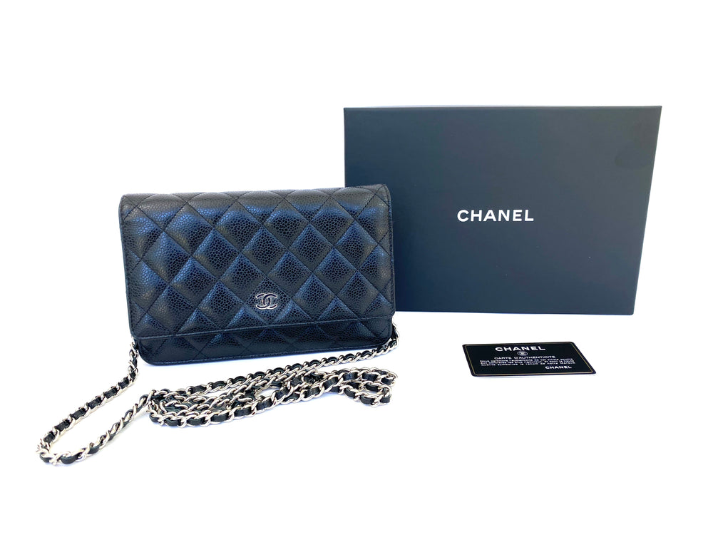 Chanel Black Caviar Wallet on Chain with Silver Hardware