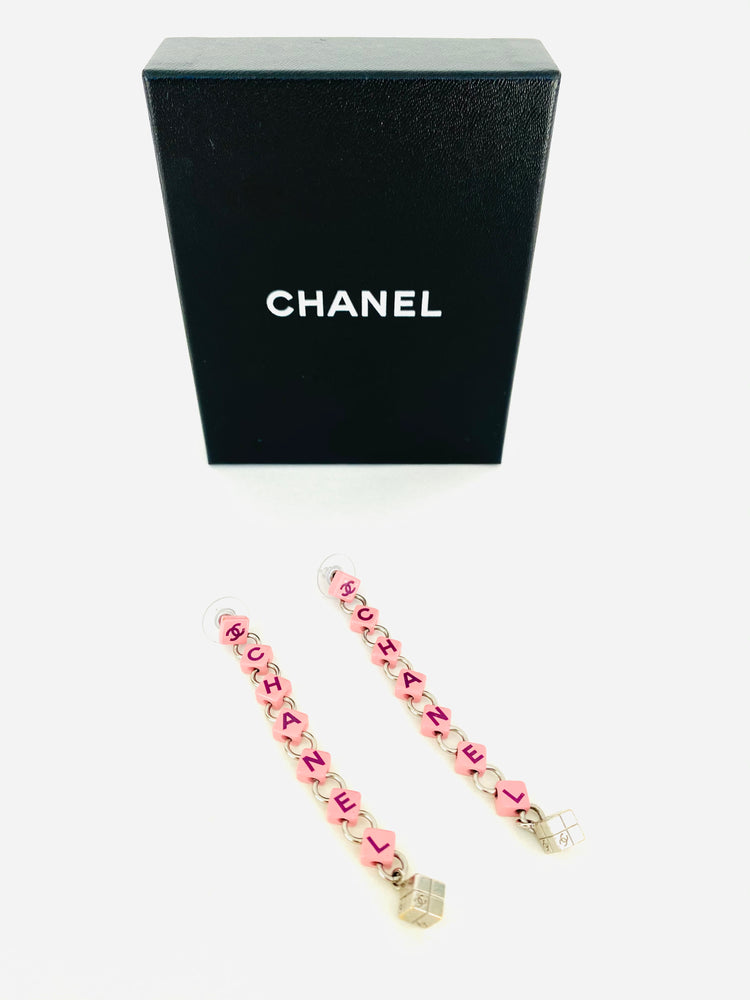 RARE Chanel 04P Pink Dangle Drop Earrings