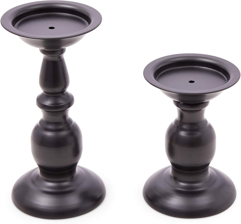 Metal Candle Holders Set for Coffee Table Decor (Black, 2 Pieces)