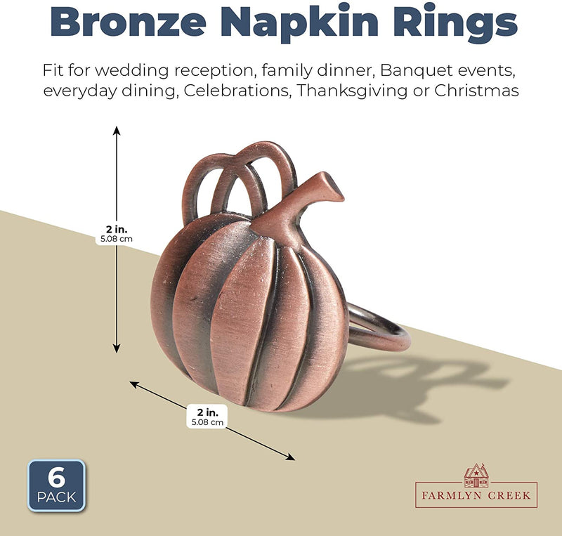 Farmlyn Creek Bronze Napkin Ring Set, Pumpkin Decor for Thanksgiving Holidays (2 in, 6 Pack)