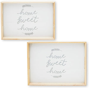 Farmlyn Creek Wooden Serving Tray Set with Handles, Home Sweet Home (2 Pack)