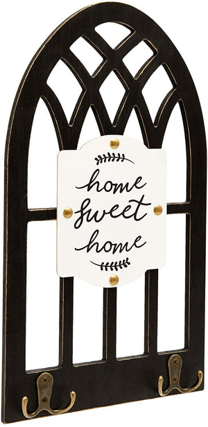 Hanging Wood Wall Decor with Hooks, Home Sweet Home (16 x 8.7 In)