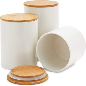 White Ceramic Kitchen Canisters with Bamboo Lids (3 Sizes, 3 Pack)
