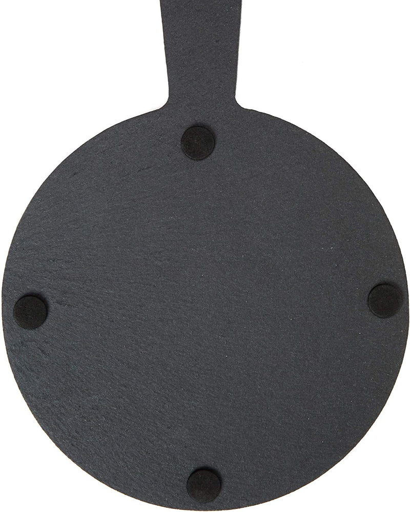 Round Slate Cheese Board with Rope, Live, Love, Laugh (7.3 x 10 In, Black)