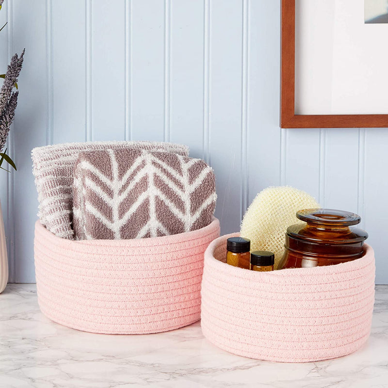 Farmlyn Creek Cotton Woven Baskets for Storage, Pink Organizers (2 Sizes, 2 Pack)