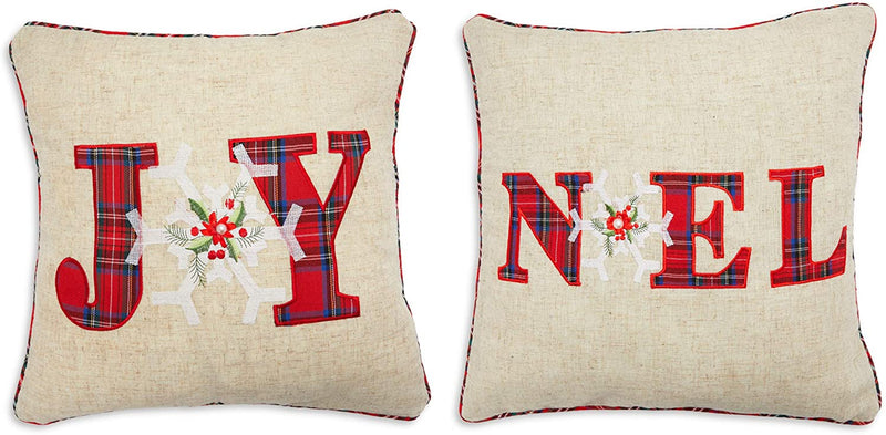 Farmlyn Creek Burlap Christmas Throw Pillow Covers, Joy, Noel (17 x 17 Inches, 2 Pack)
