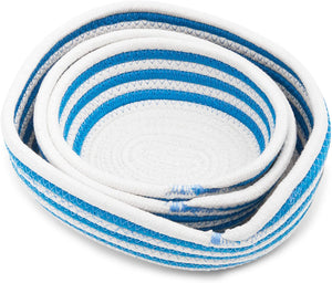 Round Woven Storage Baskets, Blue and White Stripes (3 Sizes, 3 Pack)