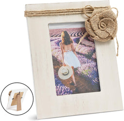 Rustic Wood Picture Frame for 4 x 6 Photo with Burlap Flower