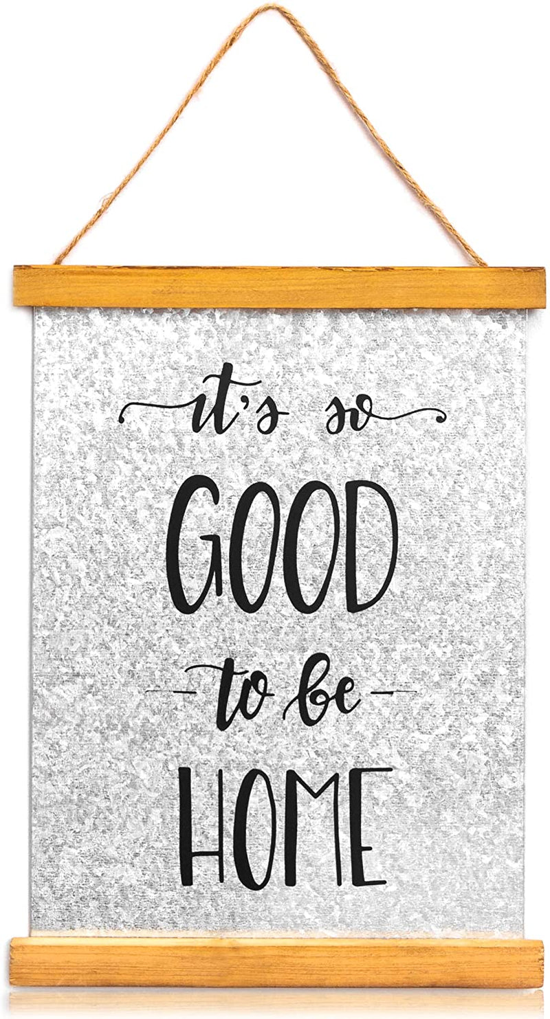 Metal Welcome Sign for Farmhouse Wall Decor, It's So Good to Be Home (11 x 8 In)