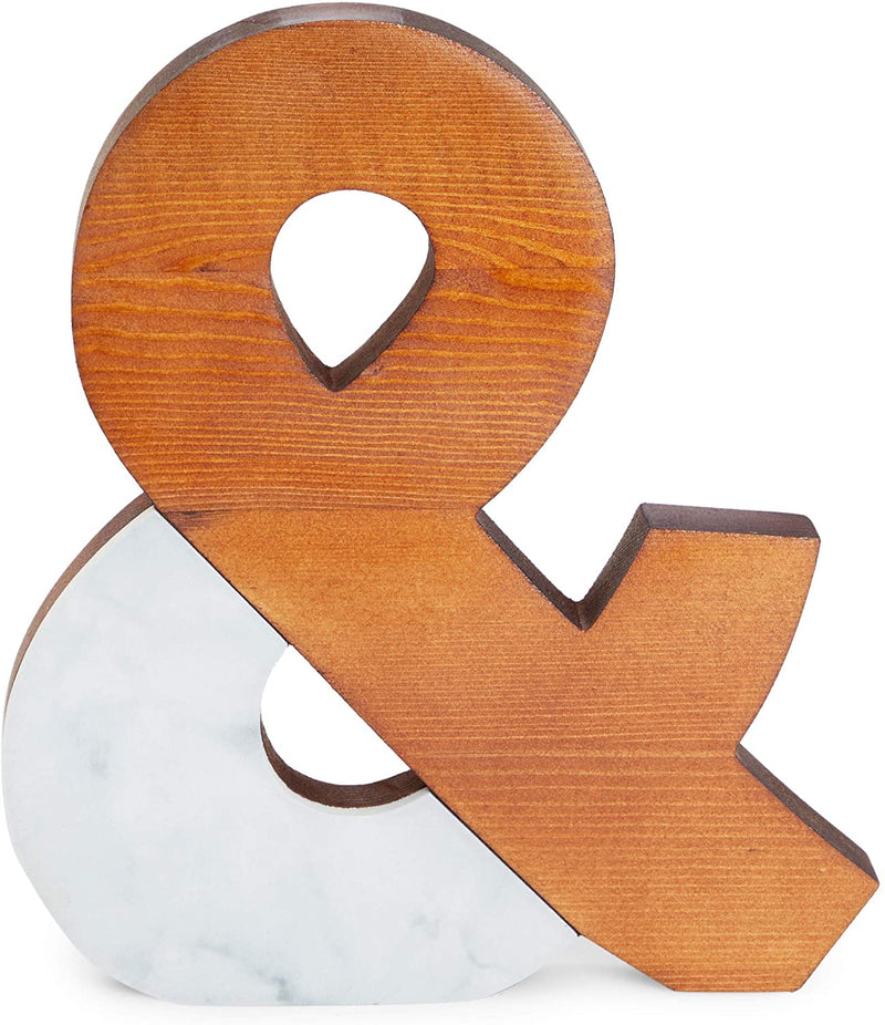 Farmlyn Creek Ampersand Sign, Wood and Marble Home Décor (9 x 10 Inches)