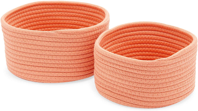 Farmlyn Creek Cotton Woven Baskets for Storage, Peach Organizers (2 Sizes, 2 Pack)