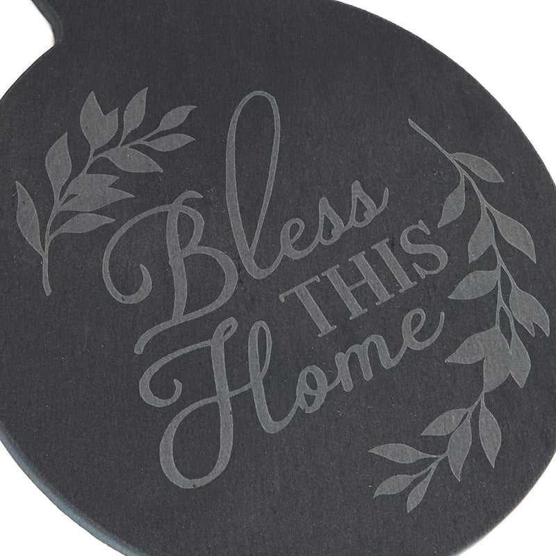 Round Slate Cheese Board with Rope, Bless This Home (7.3 In, Black)
