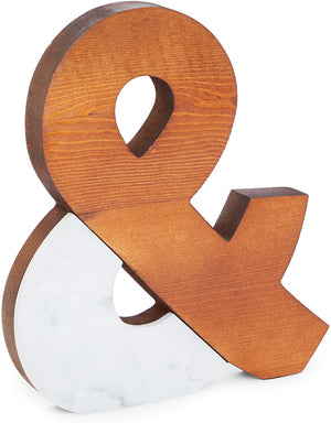 Farmlyn Creek Ampersand Sign, Wood and Marble Bookshelf Décor (9 x 10 in)
