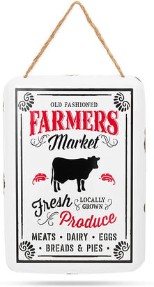 Farmer's Market Metal Vintage Sign (11 x 8 In)