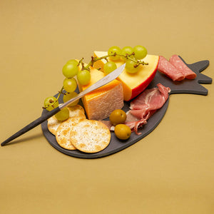 Slate Cheese Board Plate, Pineapple Design (Black, 6 x 12 Inches)