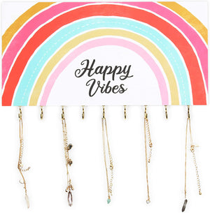 Wall Mounted Jewelry Organizer, Happy Vibes (14 x 8 x 1 In)