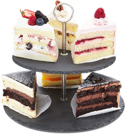 Slate Cake Stand, Two-Tier Dessert Display (11.8 x 9.8 In)