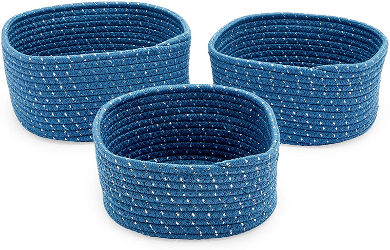 Farmlyn Creek Cotton Woven Baskets for Storage, Blue Organizers (3 Sizes, 3 Pack)