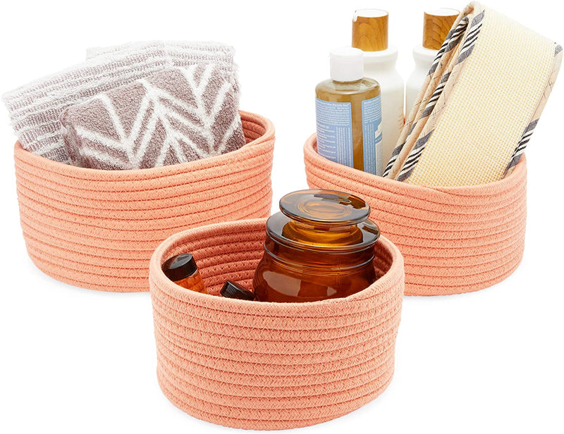 Farmlyn Creek Cotton Woven Baskets for Storage, Peach Organizers (3 Sizes, 3 Pack)