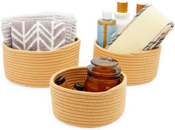 Farmlyn Creek Cotton Woven Baskets for Storage, Brown Organizers (3 Sizes, 3 Pack)