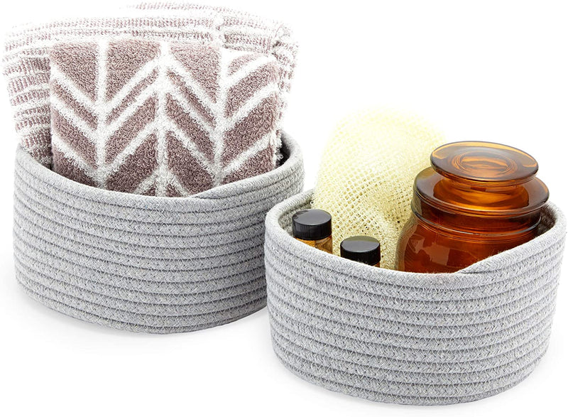 Farmlyn Creek Cotton Woven Baskets for Storage, Grey Organizers (2 Sizes, 2 Pack)