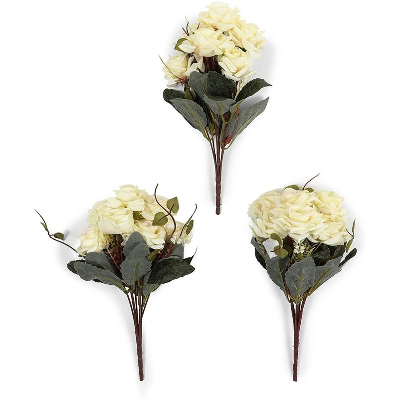 Artificial Flowers with Ceramic Vase, White Roses (4 Pieces)