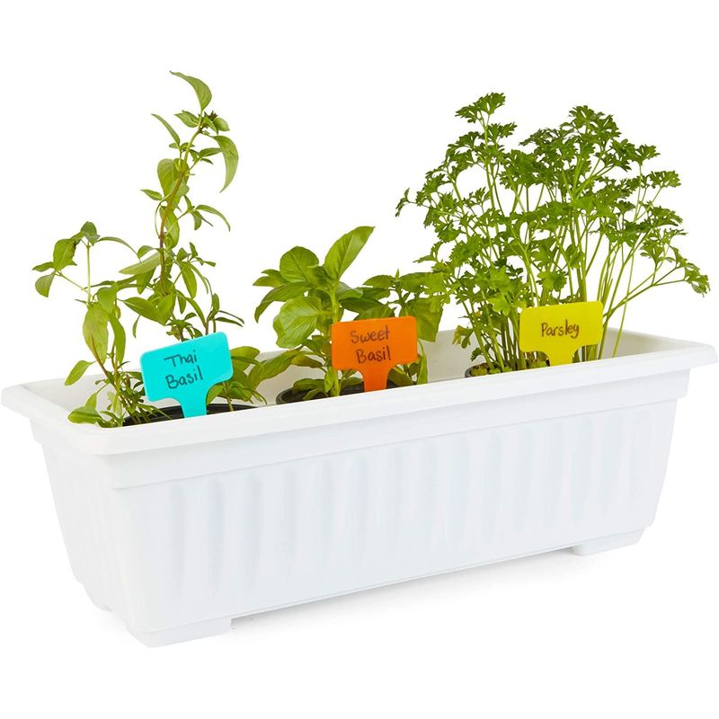 3 White Window Herb Planter Boxes, 3 Trays, 21 Colorful Labels (17 in, 27 Pieces)