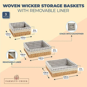 Farmlyn Creek Woven Wicker Storage Baskets with Removable Liner (3 Sizes, 3 Pack)