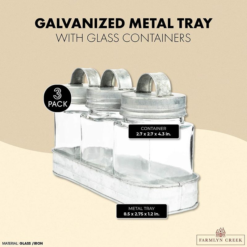 1 Galvanized Metal Tray with 4 Glass Containers for Bathroom and Kitchen (4 Pieces)