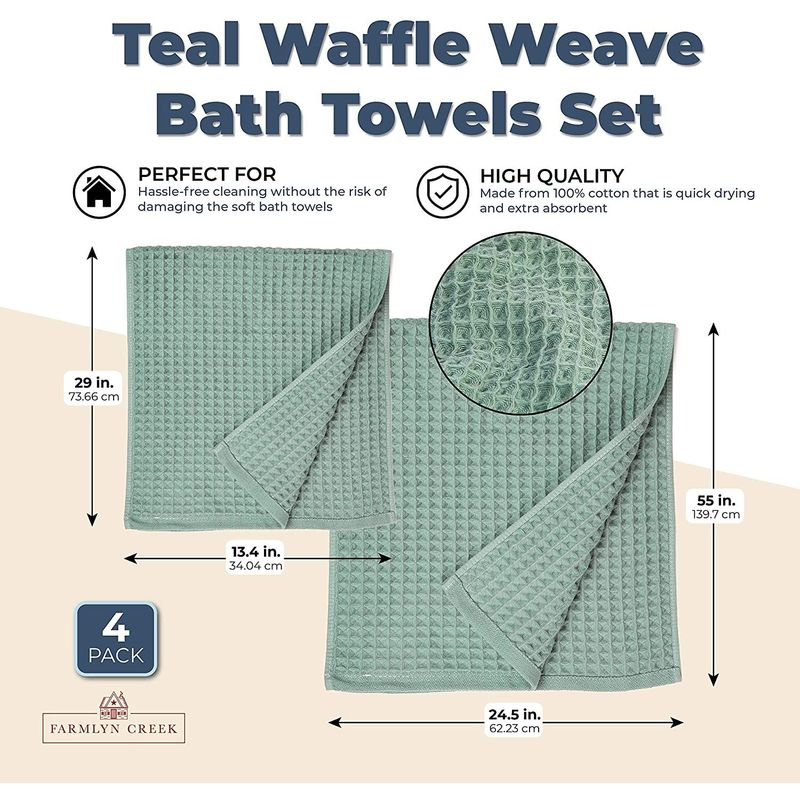 Teal Waffle Weave Bath Towels Set (2 Sizes, 4 Pieces)