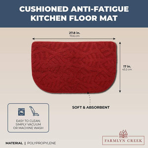 Anti Slip Kitchen Floor Mat, Half Round (Red, 27.8 x 17 in)