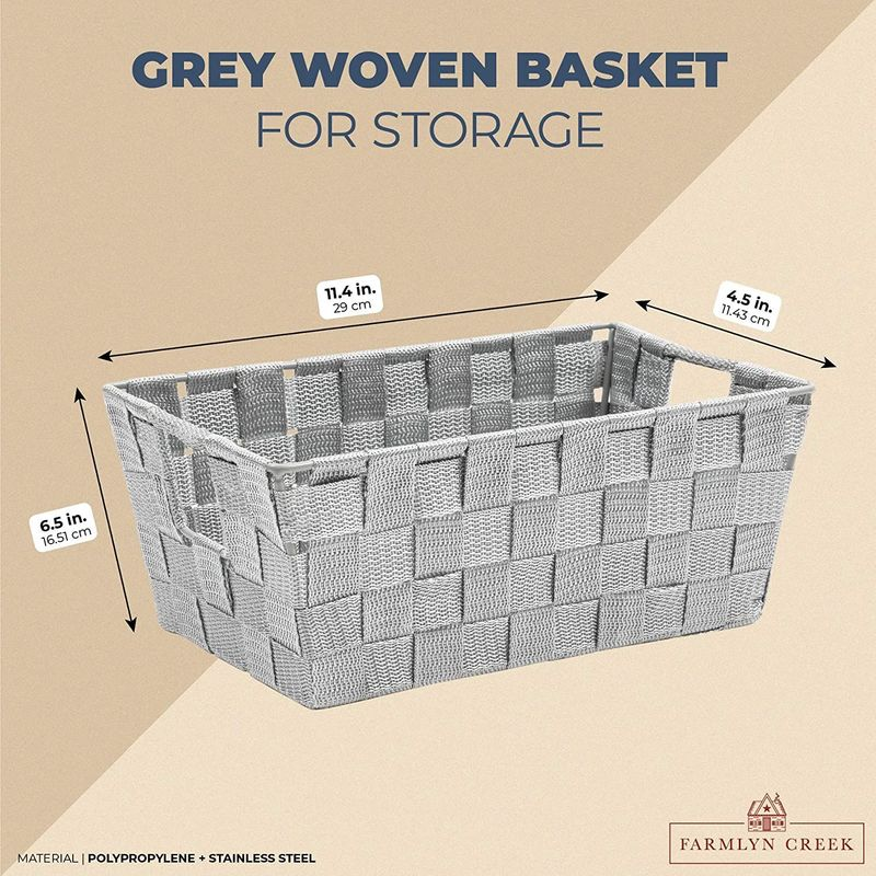 Farmlyn Creek Grey Woven Basket for Bathroom, Closet and Pantry Storage (11.4 x 6.5 x 4.5 in)