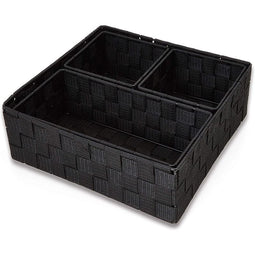 Black Drawer Organizer Woven Baskets for Storage (4 Pieces)