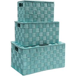 Woven Storage Basket Set with Hinged Lid in 3 Sizes (Turquoise, 3 Pack)