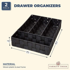 Black Storage Boxes Set for Drawer Organizers (10 x 13.5 x 2.75 in, 2 Pack)