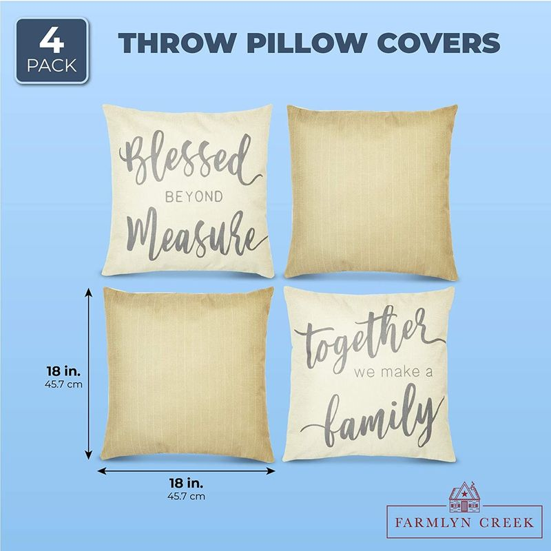 Farmhouse Throw Pillow Covers, Rustic Home Decor (18 x 18 In, 4 Pack)