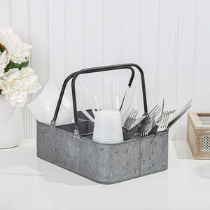 Galvanized Metal Outdoor Utensil Caddy (12 x 8 x 4 In)