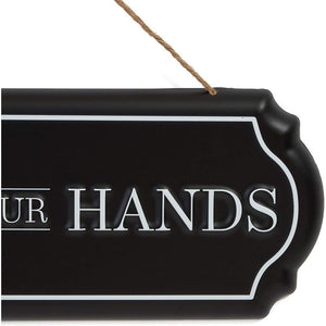 Bathroom Wall Decor, Wash Your Hands Iron Sign (15.5 x 6 In)