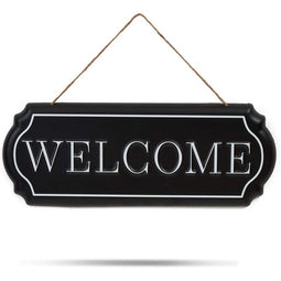 Home Wall Décor, Iron Welcome Sign with Hemp Rope (15.5 x 6 Inches)